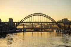 Мост Tyne - заход солнца Стоковое фото RF