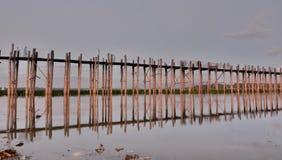 мост u bein Amarapura Область Мандалая myanmar Стоковое фото RF