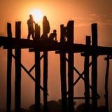 Мост u Bein, Myanmar Стоковое Изображение RF