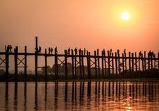 Мост u Bein, Myanmar Стоковая Фотография RF