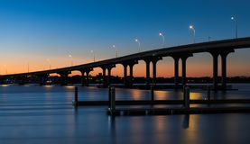 Мост Vilano на заходе солнца стоковое фото rf
