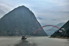Мост Wushan Рекы Янцзы в Three Gorges Чунцина в Китае Стоковое Изображение RF
