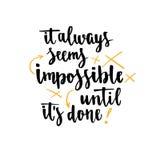 Мотивационная литерность руки цитаты Вдохновляющий плакат Шаблон для дизайна печати иллюстрация штока