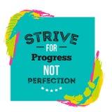 Мотивационный плакат цитаты о прогрессе на яркой предпосылке с красочными пятнами Творческий дизайн для стены или футболки Стоковые Изображения RF