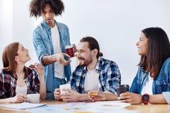 Мотивированные жизнерадостные коллеги обсуждая их проект во время обеда Стоковое фото RF