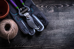 Моток бака торфа pruner сада перчатки безопасности острый веревочки Стоковое Изображение