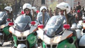 Моторизованная полиция на параде видеоматериал