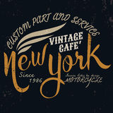 Мотор Нью-Йорка винтажный типографский для дизайна футболки, graphi тройника иллюстрация вектора
