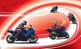 Мотоциклисты на следе, красной предпосылке иллюстрация вектора