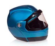 мотоцикл голубой каски светлый Стоковые Фотографии RF