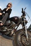 мотоцикл девушки угла Стоковое Изображение RF