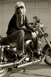 мотоцикл девушки Стоковые Изображения