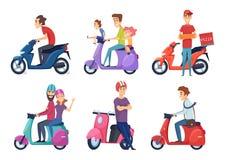Мотоцикл езды человека Быстрый скутер велосипеда для пар путешественников пиццы или еды доставки управляя изображениями вектора м бесплатная иллюстрация