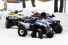 Мотоцикл зимы Снегоход Зима ATVs Стоковое фото RF