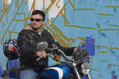 мотоцикл человека Стоковое фото RF