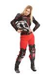 мотоцикл шлема девушки с всадника стоковая фотография rf