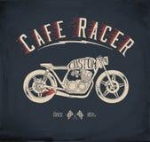 Мотоцикл гонщика кафа Винтажная нарисованная рука ввела иллюстрацию в моду вектора Стоковые Изображения RF