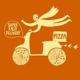 Мотоциклист нарисованный рукой быстрый с пиццей Стоковые Фото