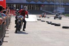 Мотоциклист на следе Стоковое фото RF