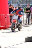 Мотоциклист на следе Стоковые Изображения