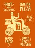 Мотоциклист шаржа быстрый с итальянской пиццей и названиями Стоковые Изображения RF