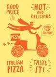 Мотоциклист шаржа быстрый с итальянской пиццей и названиями Стоковое Изображение