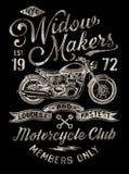 Мотоцикл покрашенный рукой винтажный графический иллюстрация вектора