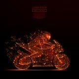 Мотоцикл участвуя в гонке низкое поли пламя Стоковые Фото