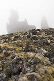 Мох Londrangar, очень туманный - вертикаль стоковая фотография rf