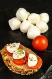 Моццарелла и томаты на плите шифера еда диетпитания женщина вектора подготовки кухни иллюстрации еды Продажа сыров Диета протеина стоковые фото