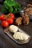 Моццарелла, томаты, хлеб, базилик Стоковое Фото