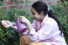 мочить девушки цветков розовый стоковое фото rf