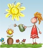 мочить девушки цветков бесплатная иллюстрация
