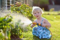 мочить лета заводов девушки сада дня горячий маленький Стоковые Фотографии RF