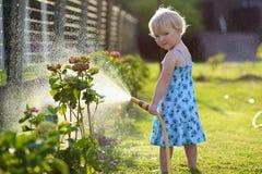 мочить лета заводов девушки сада дня горячий маленький Стоковые Фото