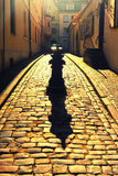 Мощенная булыжником узкая улица в старом городке Риги стоковое фото rf