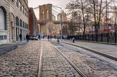 Мощенная булыжником улица в Бруклине Стоковое Изображение