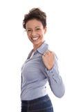Мощная успешная молодая бизнес-леди в голубых блузке и a стоковая фотография