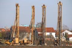 Мощные гидравлические сверля машины на строительной площадке Стоковая Фотография RF