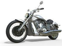 Мощный винтажный мотоцикл - белизна Стоковое Изображение RF