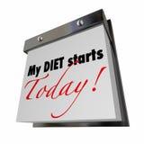 Моя диета начинает сегодня формулирует календарь Стоковая Фотография RF