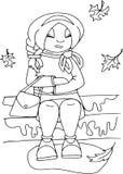 Моя осень, сидя девушка Плоские люди стиля, персонажи из мультфильма, крася картина стоковые фотографии rf