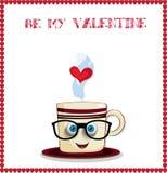 Моя поздравительная открытка валентинки с милой кружкой кофе шаржа Стоковое Изображение RF