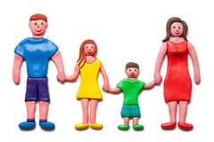 Моя счастливая семья пластилина. Стоковые Фото