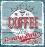 Мода вектора времени кофе графическая Стоковая Фотография