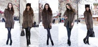 Мода зимы коллажа красивейшие женщины молодые стоковое фото rf