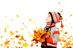 Мода осени ребенк, одежда куртки шляпы ребенка связанная мальчиком стоковое изображение