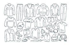 Мода, покупки, значки бутика установленные Собрание модной одежды ` s людей также вектор иллюстрации притяжки corel Бесплатная Иллюстрация
