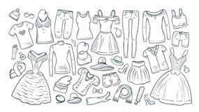 Мода, покупки, значки бутика установленные Собрание одежды ` s модных женщин также вектор иллюстрации притяжки corel Иллюстрация вектора