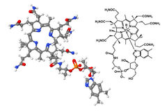 Молекула витамина B12 с химической формулой Стоковые Фото
